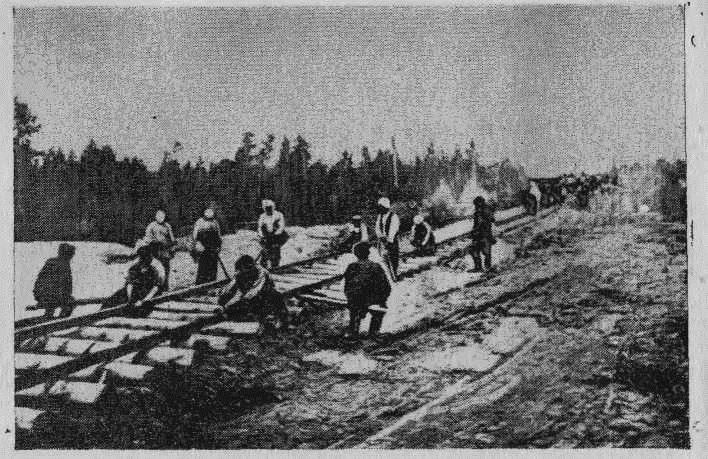 Строительство Сибирской железной дороги.