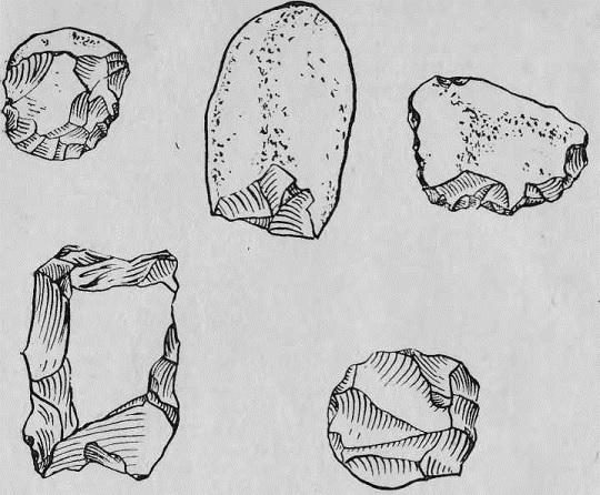 Орудия труда людей древнекаменного века, 32—25 тыс. лет до н. э.; скребла, нуклеусы (найдены около Новокузнецка)