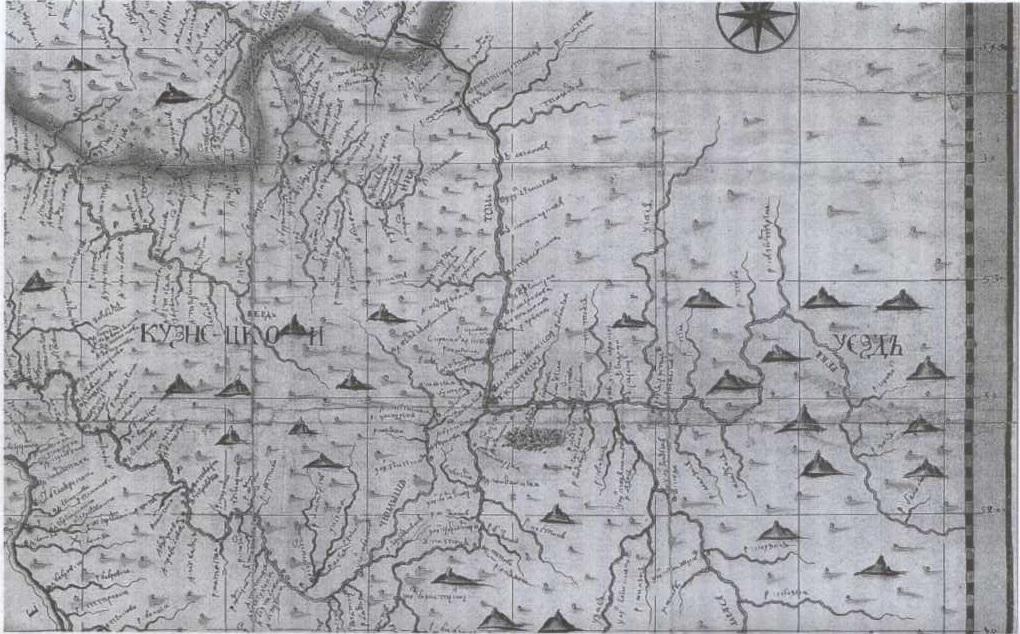 Карта Кузнецкого уезда, составленная геодезистом В. Шишковым. 1730-е гг.