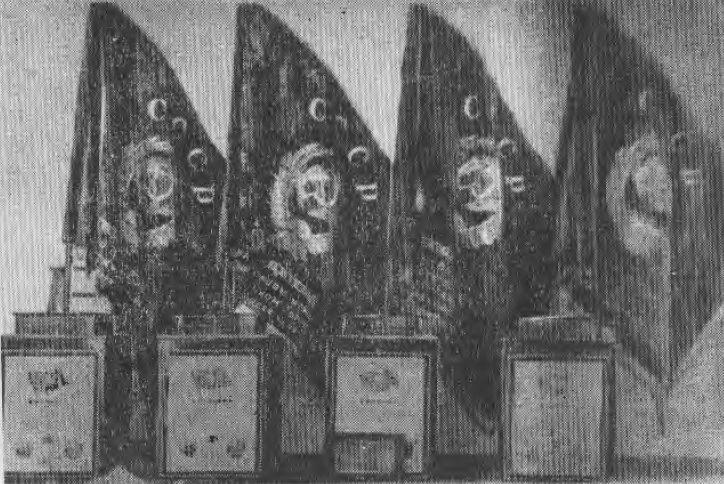 Знамена Государственного Комитета Обороны, врученные на вечное хранение ведущим цехам Кузнецкого комбината за отличную работу в годы Великой Отечественной войны
